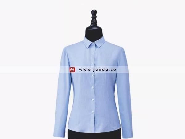 女士蓝色长袖衬衫定制
