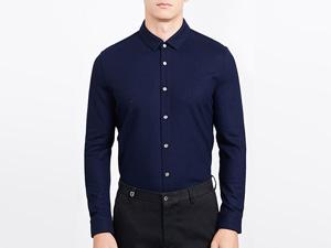 男藏青长袖衬衫定制