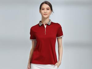 女士红色POLO衫广告团体衫定制