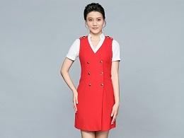 红色短袖职业装连衣裙定制-LYQ0052