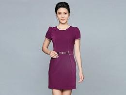 紫色短袖职业装连衣裙定制-LYQ0055