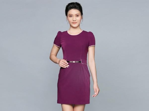紫色短袖连衣裙职业装定制