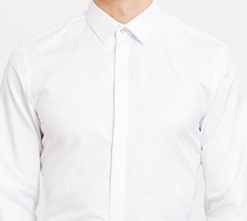 男白色长袖衬衫定制细节