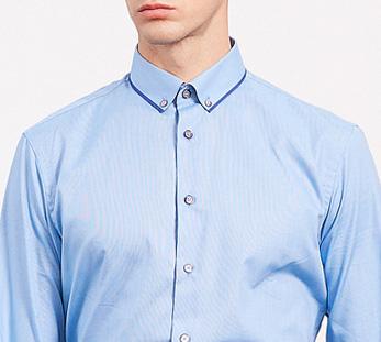 男蓝色长袖衬衫定制