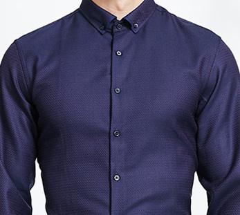 男深蓝长袖衬衫定制细节