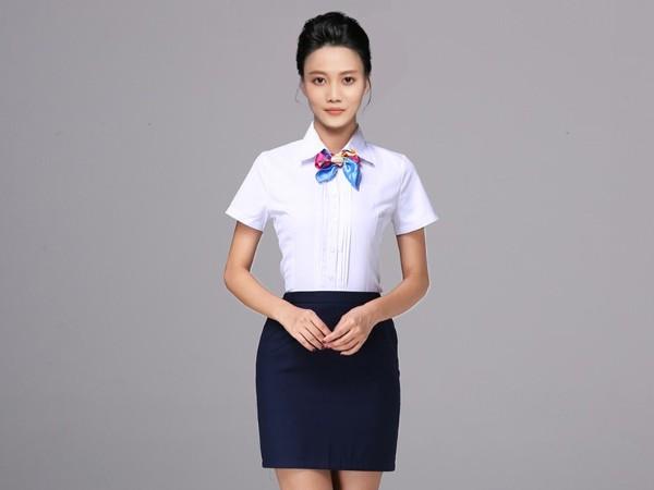 女士前台接待短袖衬衫职业装定制