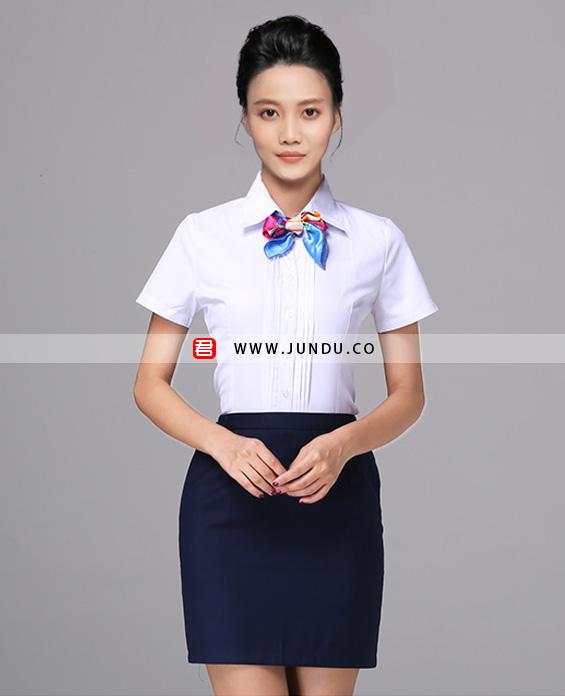 女士前台接待短袖衬衫职业装定制展示图