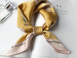 黄色时尚气质丝巾定制