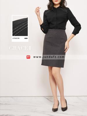 小立领高端衬衫+气质半身裙套装定制
