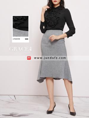 荷叶边高端衬衫+过膝鱼尾半身裙套装定制