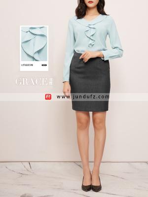 荷叶V领套头衬衫+百搭通勤包臀西裙套装定制