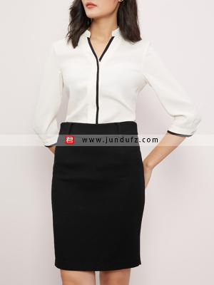 V领前开扣衬衫+通勤包臀西裙套装定制