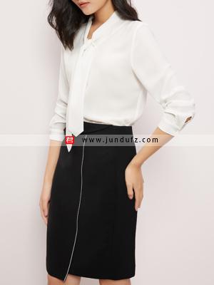 飘带经典衬衫+小众设计款西裙套裙定制