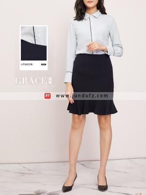 滚条小翻领衬衫+包臀鱼尾半身裙套装定制
