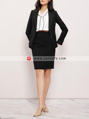 戗驳领一粒扣韩版商务西装三件套套裙定制