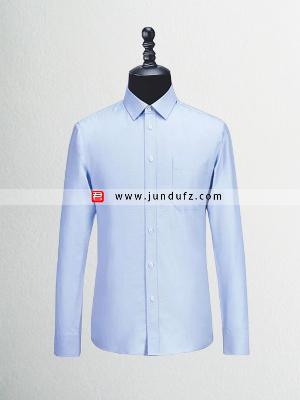 男士蓝色长袖衬衫定制
