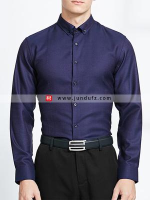 男深蓝长袖衬衫定制