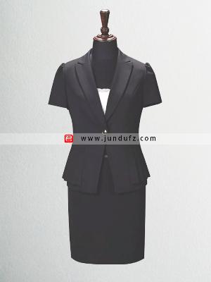 时尚黑色荷叶摆短袖西服套裙定制
