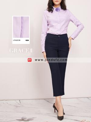 纯棉收腰经典衬衫+9分修身喇叭裤套装定制