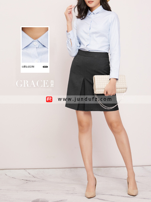浅蓝色经典衬衫+显瘦小A裙套装定制