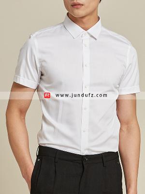 男白色短袖衬衫定制