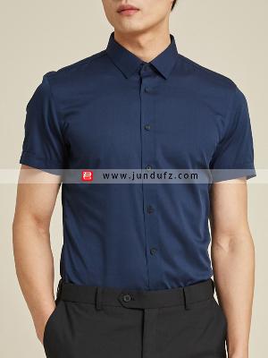 男藏青短袖衬衫定制