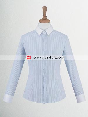 女士蓝色条纹长袖衬衫定制