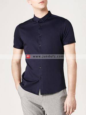 男士藏青色短袖衬衫定制