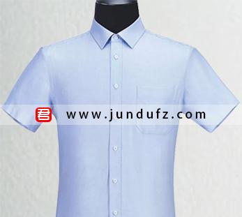 男士蓝色短袖衬衫定制